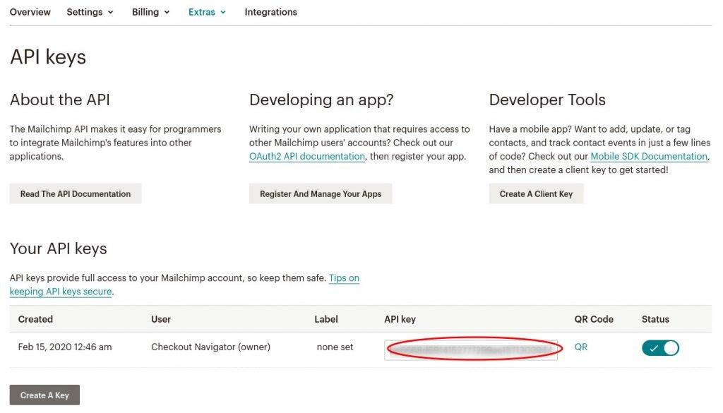 Mailchimp API kulcs