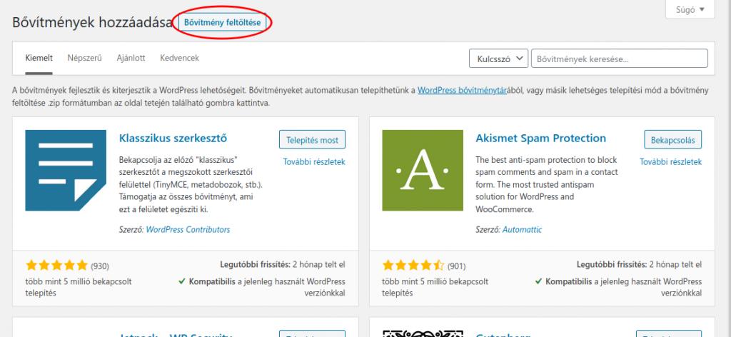 WordPress bővítmény feltöltése