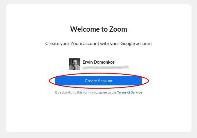 Zoom fiók létrehozásának véglegesítése