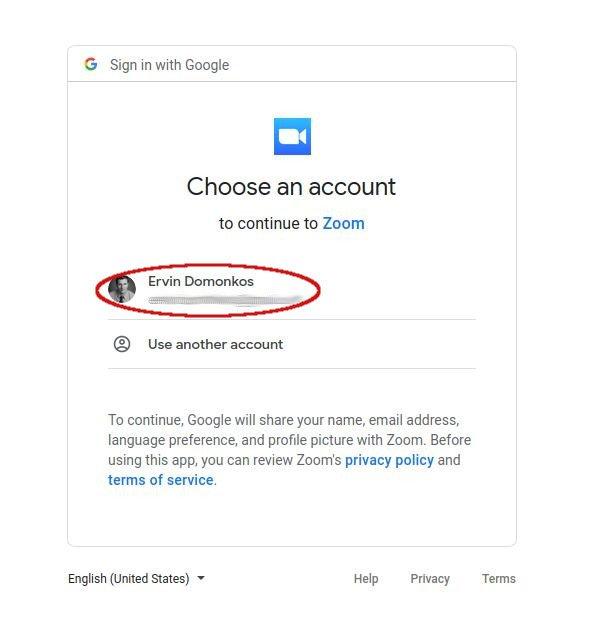 Google fiók kiválasztása az összekötéshez