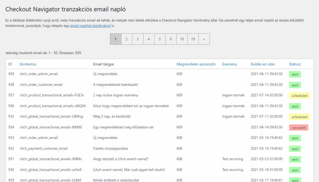 Tranzakciós email napló