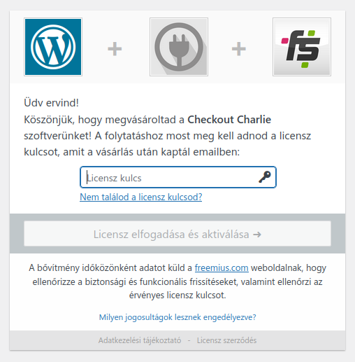 Lejárt licenc képernyő a Checkout Charlie 0.x esetén