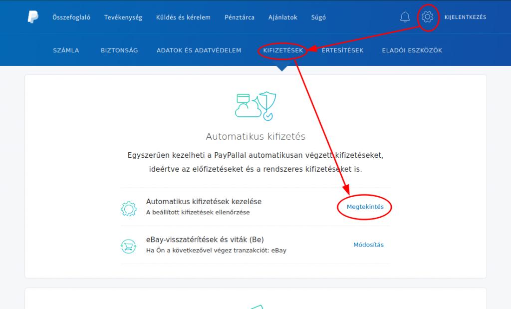 PayPal automatikus kifizetések kezelése