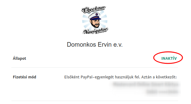 PayPal automatikus kifizetés inaktív